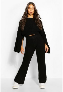 Chunky Rib Knit Wide Leg Lounge Set