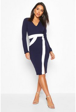 Navy Contrast Midi Dress