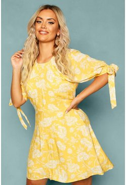 Plus Floral Puff Shoulder Tie Sleeve Skater Dress, Yellow gelb
