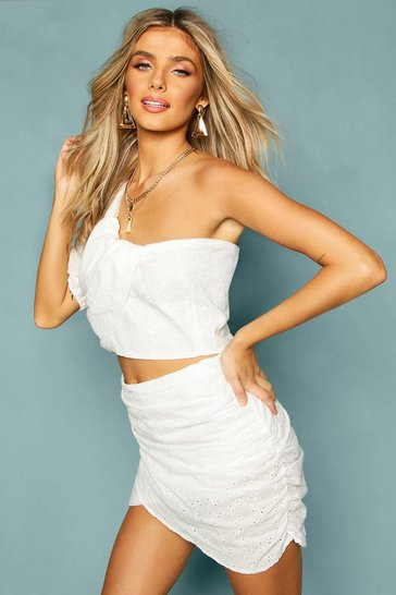 White Broderie Anglais Ruched Wrap Mini Skirt