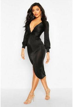 Rose Twist Front Plunge Slinky Midi Dress