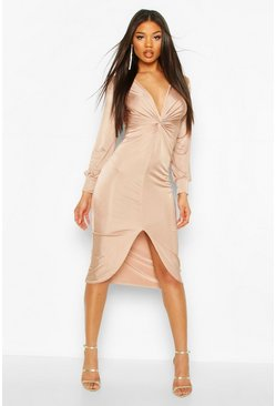 Stone beige Twist Front Plunge Slinky Midi Dress