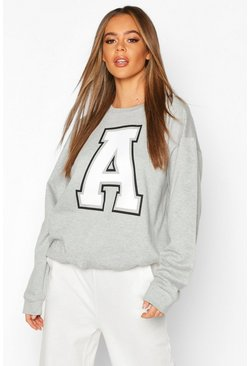 Grey A Initial Slogan Oversized Sweat