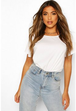 Basic Oversized Cap Sleeve Top, White blanco