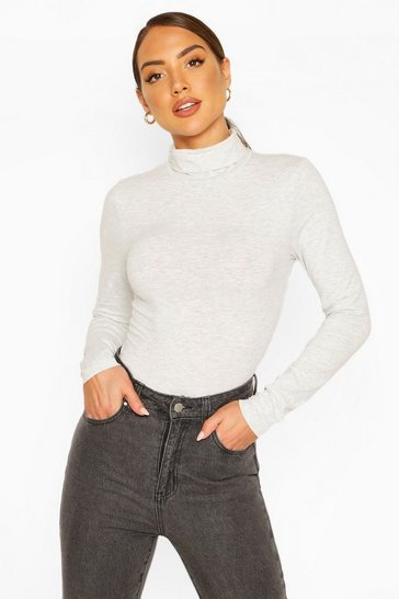 Grey marl grey Grey Roll Neck Long Sleeve Bodysuit