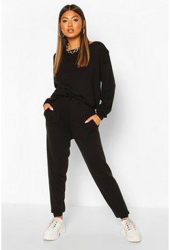 Black Slash Neck Knitted Jogger Lounge Set