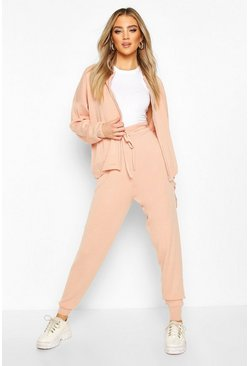 Blush Zip Through Knitted Tracksuit