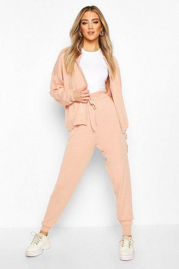Blush pink Zip Through Knitted Tracksuit