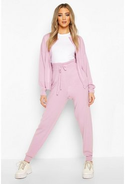 Lilac purple Zip Through Knitted Lounge Set