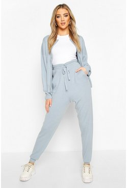 Pastel blue blue Zip Through Knitted Tracksuit