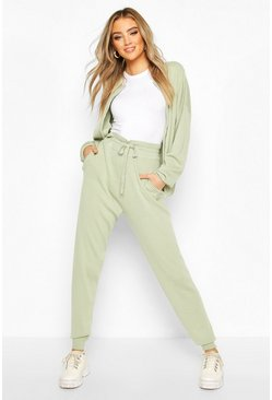 Sage green Zip Through Knitted Tracksuit