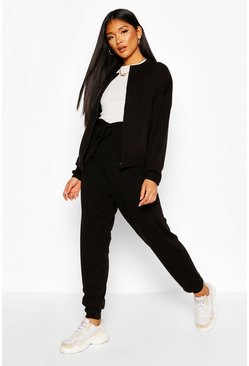 Black Zip Through Knitted Lounge Set