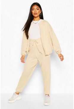 Stone beige Zip Through Knitted Tracksuit