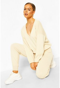 Ecru white V Neck Knitted Jogger Lounge Set