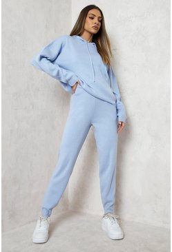 Pastel blue blue Hoody Knitted Lounge Set
