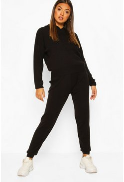 Black Hoody Knitted Tracksuit