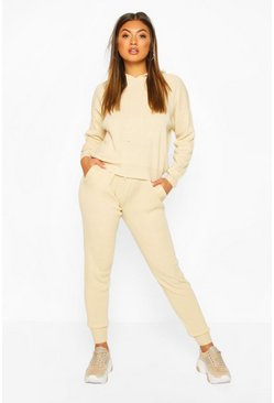 Stone beige Hoody Knitted Lounge Set