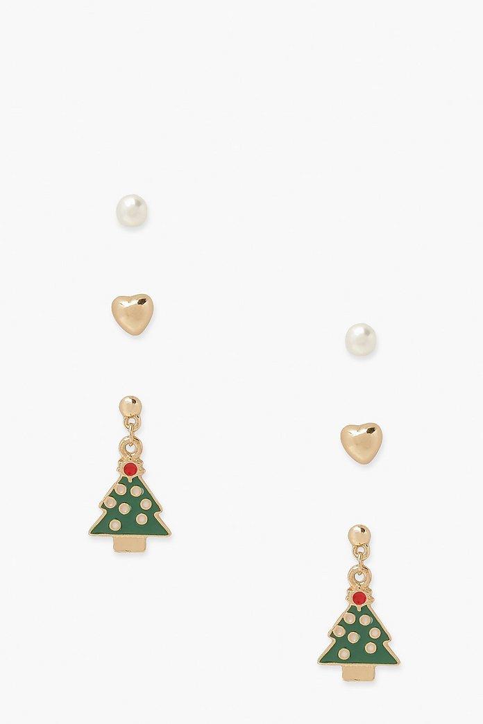3 Pack Christmas Novelty Earrings Boohoo