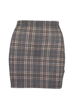 Camel Tonal Check Basic Mini Skirt