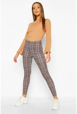 Camel beige Tonal Check Basic Jersey Leggings