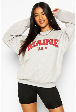 Grey marl grey Extreem Oversized Maine Sweater Met Tekst