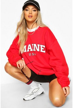 Maine Slogan Extreme Oversized Sweat, Red rojo