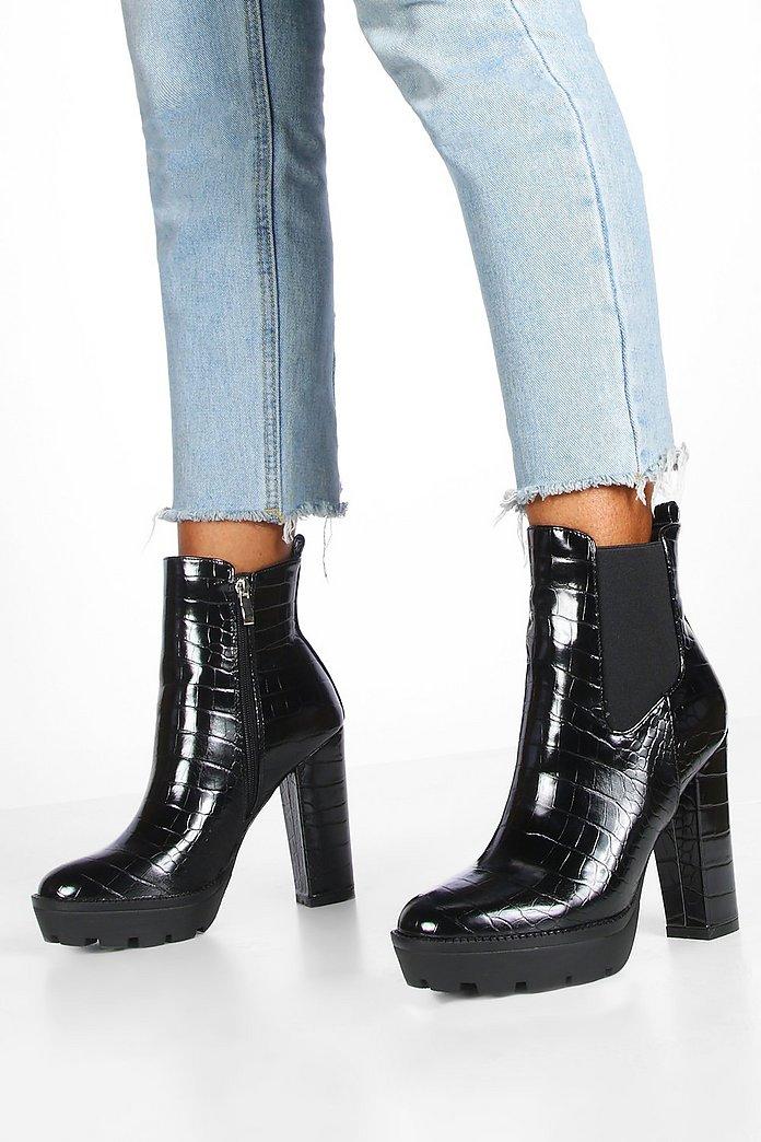 Croc Block Heel Chunky Chelsea Boots | boohoo SE