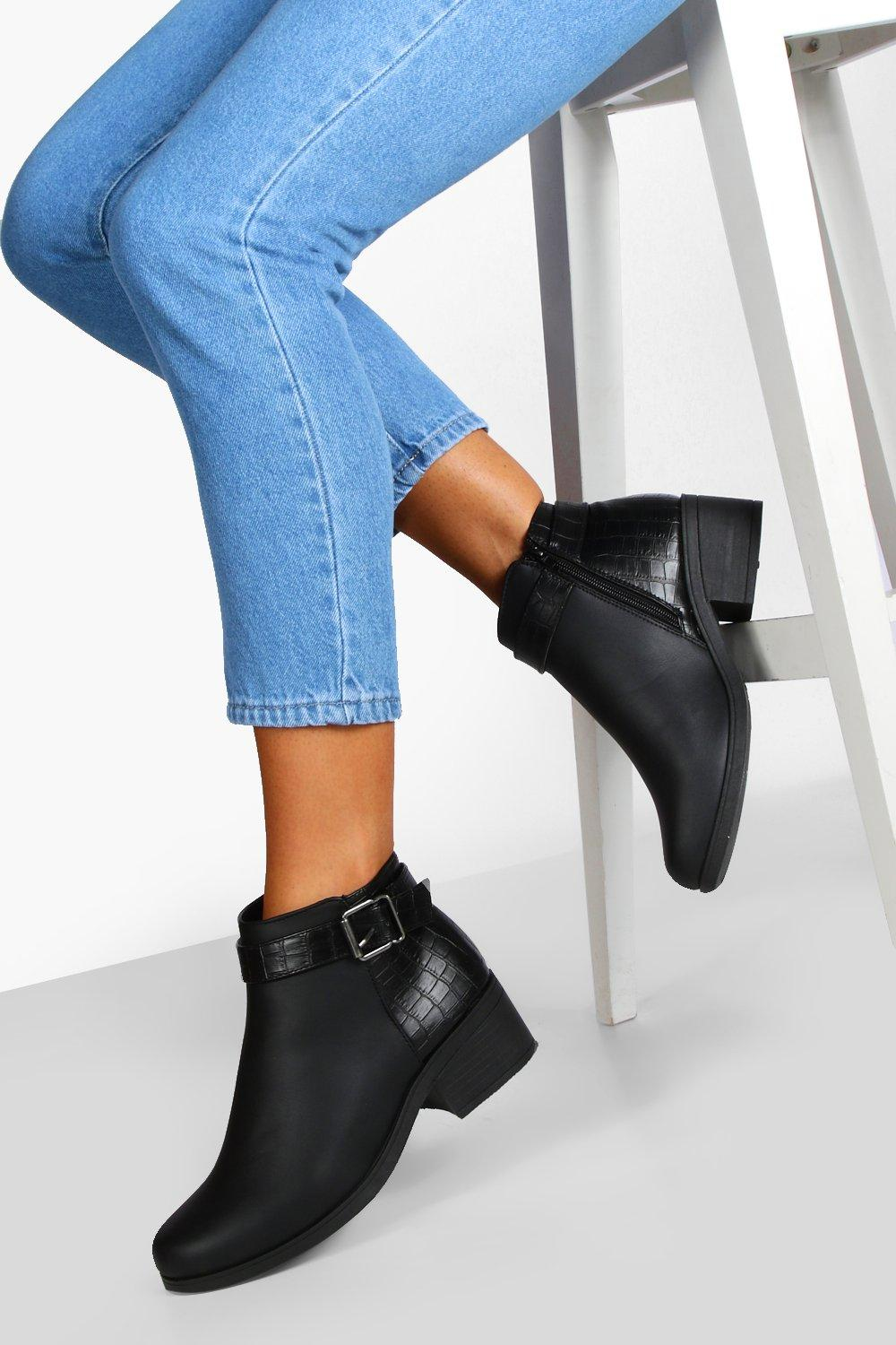 Wide Fit Buckle Detail Chelsea Boots | Boohoo UK
