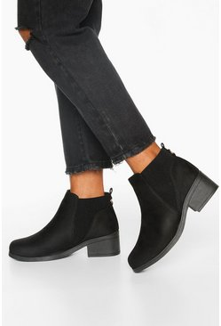 Black Wide Fit Basic Chelsea Boots
