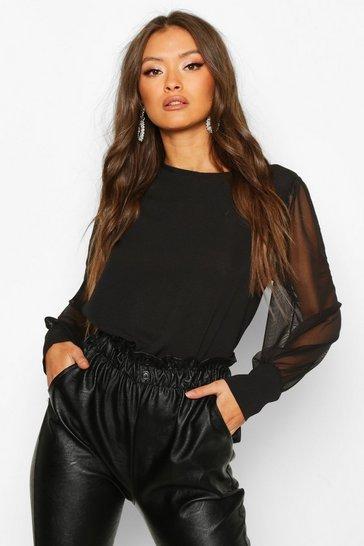 Black Sheer Sleeve Soft Blouse