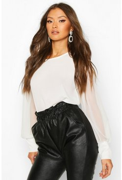 White Sheer Sleeve Soft Blouse
