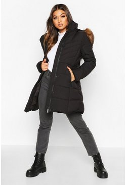 Black Faux Fur Trim Quilted Detail Parka Coat