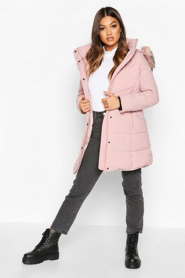 Blush pink Faux Fur Trim Quilted Detail Parka Coat