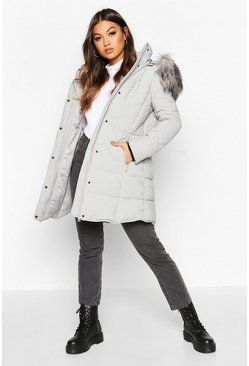 Grey Faux Fur Trim Quilted Detail Parka Coat