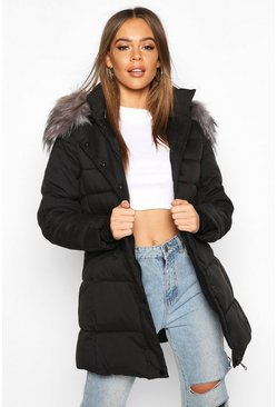 Faux Fur Trim Parka Coat, Black negro