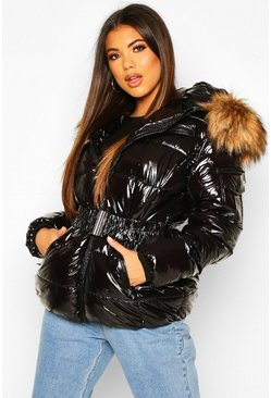 Black Vinyl Faux Fur Hooded Belted Puffer Jacket