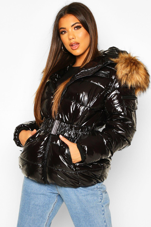 Puffer Jackets Vinyl Faux Fur Hooded Belted Puffer Jacket