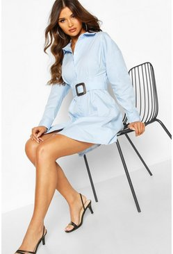 Blue Belted Shirt Dress