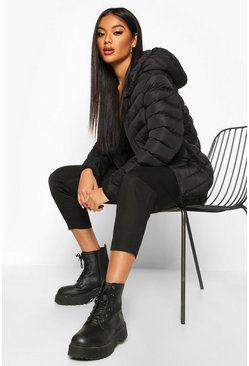 Hooded Panelled Puffer Jacket, Black nero