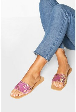 Oriental Print Square Toe Sliders, Lilac Фиолетовый