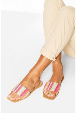 Square Toe Stripe Woven Sliders, Pink Розовый