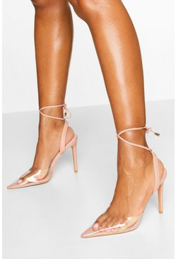 Nude Pointed Clear Ankle Wrap Courts