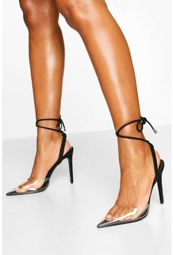 Pointed Clear Ankle Wrap Courts, Black schwarz