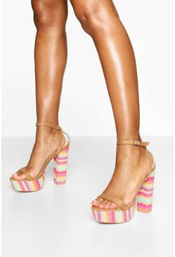 Tan Stripe Espadrille 2 Part Heel Platforms