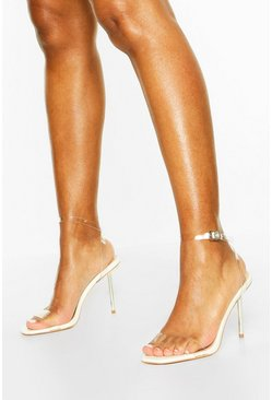 White Clear Strap Metal Stiletto Heel 2 Parts