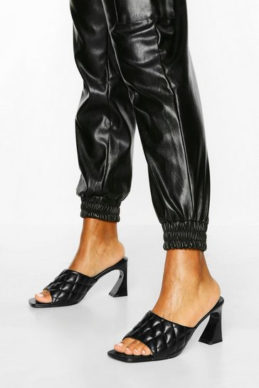 Black Quilted Square Toe Low Heel Mules