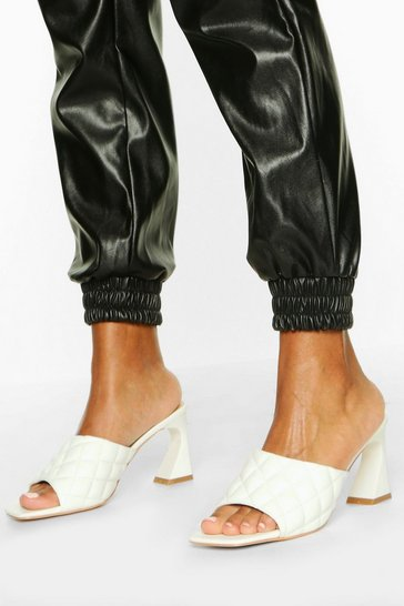 White Quilted Square Toe Low Heel Mules