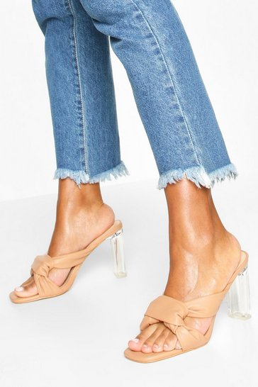 Beige Knot Front Clear Heel Mules