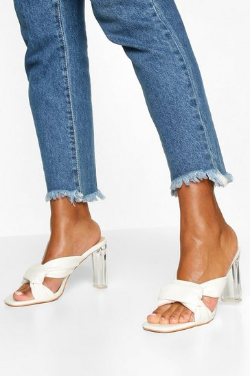 White Knot Front Clear Heel Mules