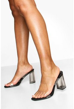 Clear Block Heel Mules, Black nero